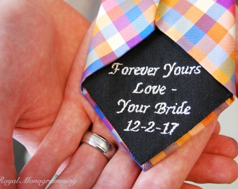 Wedding-Tie Patch-Monogrammed for the Groom! FREE GIFT CASES!! Custom-Embroidered-Wedding Gift