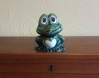 Mid Century Frog Coin Bank - Kitsch - 1970s - Made in Japan
