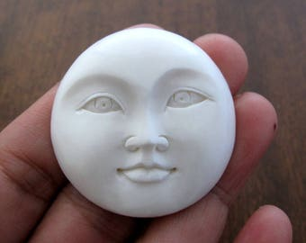 NEW ARRIVAL 40mm  Moon FAce cabochon, Large moon face,open eye,   Embellishment, Jewelry making SUpplies B6882
