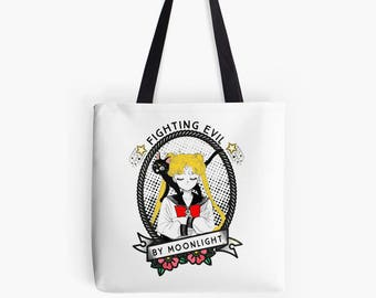 Fighting evil by moonlight Sailor Moon tote bag