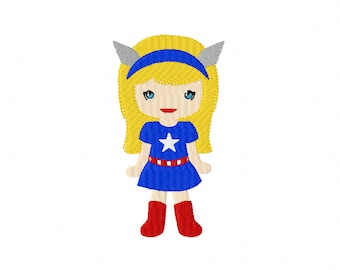 SUPER GIRl ~ Filled Machine Embroidery Design in 2 sizes ~ Instant Download ~ Super Hero Super Girl To the Rescue