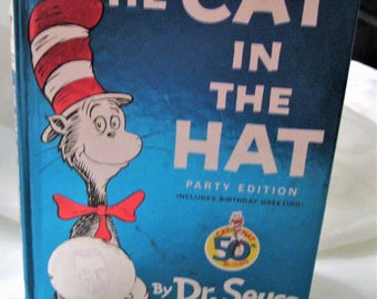 The Cat In The Hat 50th Birthday Party Edition Book Foil Label Theodor Seuss Geisel Honor Book Copyright 1957 Renewed 1985 Collectible Book