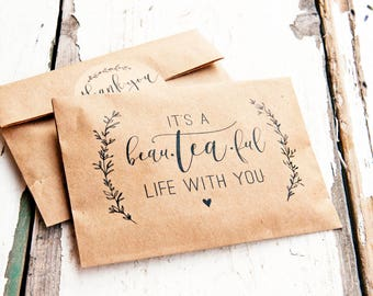 Wedding Tea Favor - Romantic Tea Pun - DIY Brown bags and stickers  - Thoughtful guest gift - 20 tea wrap bags