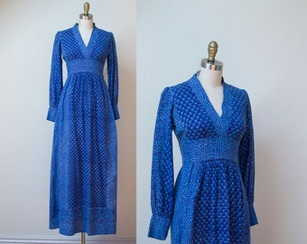 1970s Indian Cotton Dress / 70s Block Print Maxi Dress