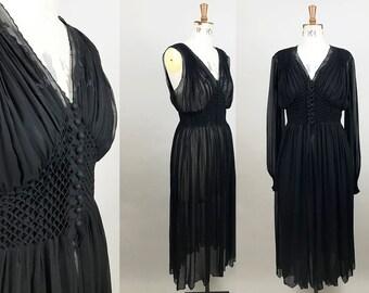 1930s Silk Peignoir Set / 2 Piece Lingerie Set / 1930s Black Robe / 1960s Nightgown / Silk Georgette Lingerie / Size Small / S M
