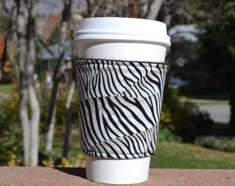 FREE SHIPPING UPGRADE with minimum -  Fabric coffee cozy / coffee cup holder / coffee sleeve -- Zebra Animal Print with a bit of brown
