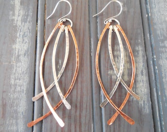 Mixed Metal Hammered Earrings - Statement Earrings - Artisan Earrings - Dangles - Date Night Jewelry - Long Earrings - Silver and Copper