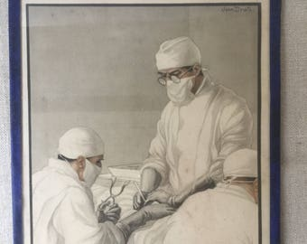 French vintage engraving about Surgeon, surgery, Operation
