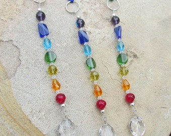 Chakra Healing Crystal Ornament, Light Catcher, Rainbow, Spiritual Home Decor