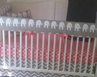 Crib Bedding Set Gray Coral and Navy Elephant