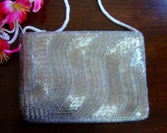 Silver Beaded Purse Vintage Evening Bag Shoulder Bag Clutch