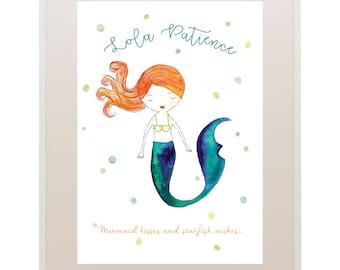 Mermaid  Kids Art // Nursery Art // 'Oh Baby, Baby!' Baby and Kids Framed Prints // Wall Art // Children
