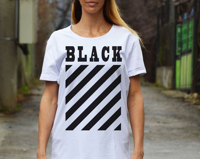 Sexy Casual White Cotton Print T-shirt, Short Sleeve Oversize Shirt, Hand Screen Plus Size Top by SSDfashion
