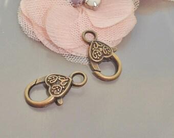 clasp bronze heart, bronze heart clasp, 24 mm bronze clasp, lobster claw clasp bronze heart.