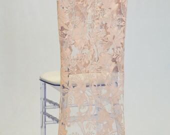 Blush Flower Embroidered Glitz Sequin Chiavari Chair Cover