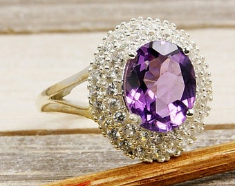 Amethyst Ring - Sterling Silver Ring Size 7 adjustable V610 The Silver Plaza