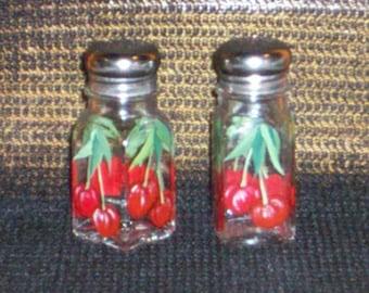 Glass Cherries Salt and Pepper Shakers Cherry Salt & Pepper Shakers, Hand-painted on Glass by Lisa Hayward
