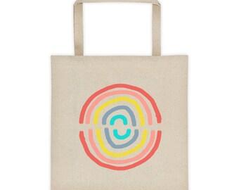 rainbow circle tote bag market bag cotton tote shopper