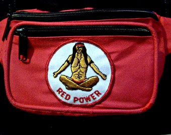 Fanny pack, Belt bag, Red, Native American, patched, Hands free bag