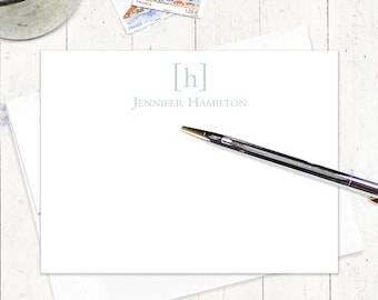 personalized note cards stationery set - SIMPLY CLASSIC MONOGRAM - set of 12 flat notecards - monogrammed stationary