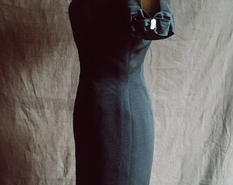 1960s Evening Fitted Little Black Dress Embellished With Diamontes