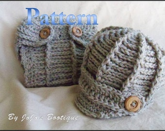 PDF Newsboy Hat and Diaper Cover PATTERN - Baby Newsboy Hat Cover - Crochet Pattern - Hat and Diaper cover Pattern- by JoJosBootique