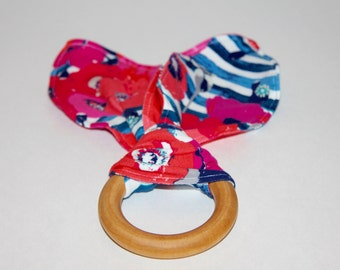 Wooden Teether, Teething Ring, Organic Teething Ring, Wooden Bunny Ear Teether, Montessori Teether - Flowers Stripes