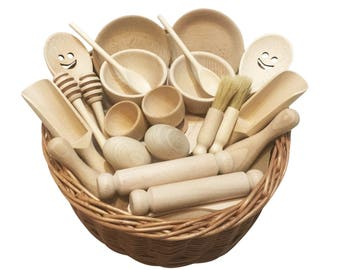 Treasure Basket - Wooden Pairs - Montessori Inspired Wooden Educational Toy