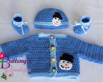 Snowman Sweater  Baby Boy Snowman Sweater  Crochet Baby Boy Snowman Sweater  Baby Boy Shower Gift  Gift for Baby Boy  03 Months