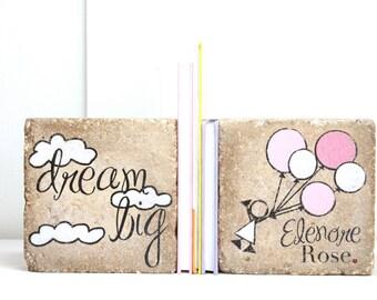 Girl Bookends- Dream big -Nursery Decor/ Rustic Girl Decor. Woodland Nursery. Girl Bookends. Modern Nursery. Heavy Bookends