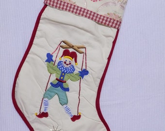 "Christmas Stocking Hanging Ornament Green Xmas Jester Marionette Pupet on Cream Background w/ Embroidered Floral Cuff 17"" x 12"""