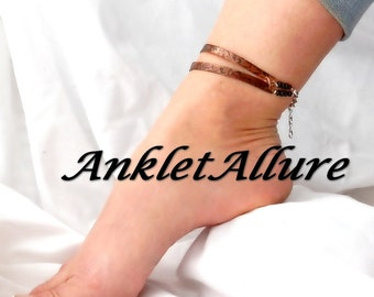 Double COPPER Ankle Bracelet Anklet Cuff Renaissance Anklets for Women