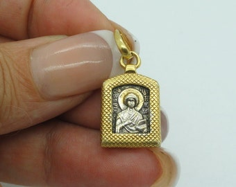 Hand made 925 sterling silver & Gold Russian Orthodox Icon Pendant , cross pendant ,gift,christmas (c p440 )