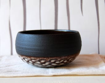 One of a kind bowl Unique bowl Small bowl Stoneware Black pottery Black clay bowl Handmade bowl Black ceramic Prop styling Faceted bowl