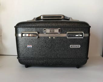 Train Case * Hard Case * Vintage Suitcase * American Tourister * Overnight * Charcoal Gray * Hard Shell * Hard Vinyl