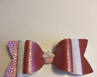 Pink Pearl Pebble Faux Leather Fabric and White Fine Glitter Sparkle Hair Bow on Alligator Clip with Cute Cupcake Girls, Toddlers, Women