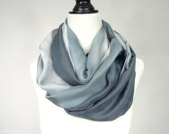Hand painted grey silk scarf, handpainted, handmade long silk scarf in Grey ombre, shades of gray, long gray silk scarf, ombre silk scarf