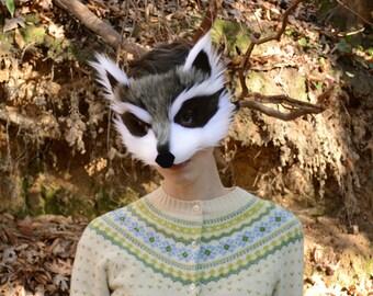 Raccoon costume etsy faux fur raccoon mask handmade solutioingenieria Choice Image