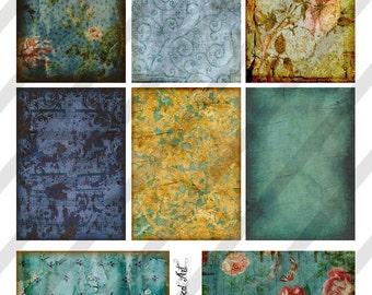 "Digital Collage Sheet, Shades of Blue, Background Images, ATC sized, 2.5 X 3.5"",  (Sheet no. O76) Instant Download"