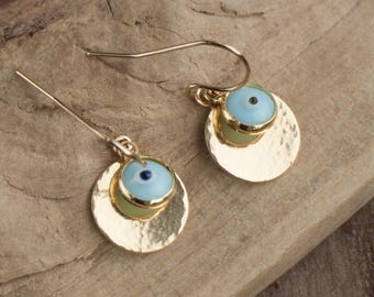 Evil Eye Drop Earrings in Gold, Hammered Gold Disc Earrings, Small Dangle Earrings, Good Luck, Protection Jewellery, Gift for Her, Jewellery