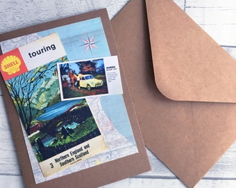 Vintage Maps Greetings Card Northern England & Scotland Personalisation Available