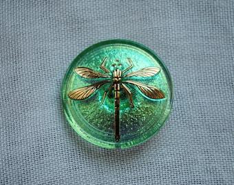 Handcrafted Iridescent Light Green Czech Glass Cabochon Button (size 14)