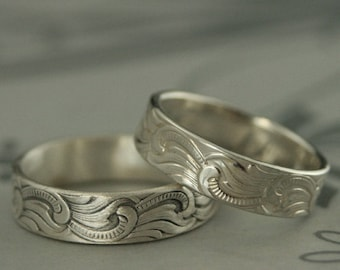 Great Wave Ring Silver Patterned Band Tsunami Ring Art Deco Ring Scroll Ring Silver Deco Band Japanese Ring Men Starry Night Ring Silver Men