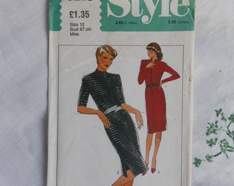 Vintage 1980s dress pattern, Style 3118, dress with front zipper, size 34 inch bust, 1980, UNCUT