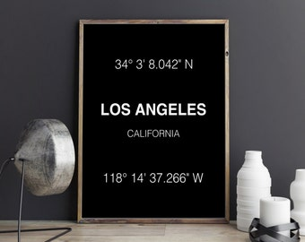 Los Angeles Print - City Coordinates - Art Print - Wall Art - Typograhie - California - Home Decor - Printable Art - Digital Download