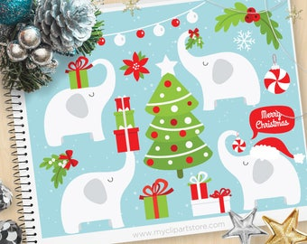 White Elephant Clipart, Christmas Clipart, Gift Exchange, Gift Swop, Mistletoe, Holly, Personal and Commercial Use Vector Clip Art, SVG Cut