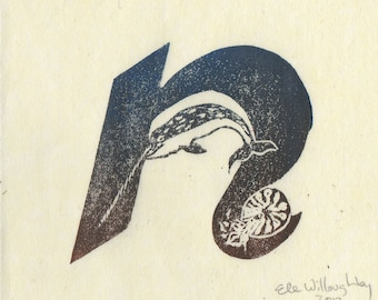 Narwhal, Nautilus N Monogram Linocut - Alphabet Typographic Lino Block Print - N is for Narwhal and Nautilus