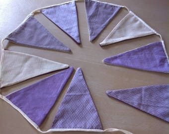 new Bunting fabric in ecru shades of plum and purple