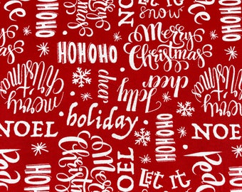 Winter words  fabric, Red Holidays fabric, Christmas fabric 100% cotton fabric for Quilting and general sewing projects.