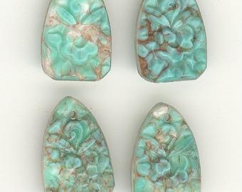 2 Antique Czech Floral Carved Turquoise Matrix True Art Deco Vintage Glass Bead Pendant 18x11x5mm P143